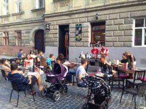 Wine bar at summer terrace in Lviv
