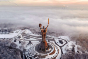 Cold War between USA and USSR and remained soviet monuments in Kiev