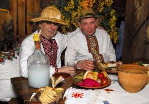 Ukrainian people drinking vodka
