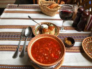 Traditional Ukrainian borsch